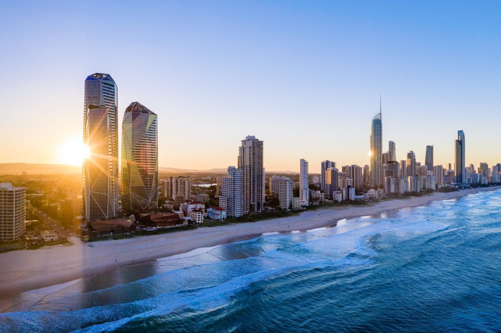 Sunset Over The City Of Gold Coast Looking From The South